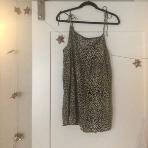 Leopard slip dress with tie straps